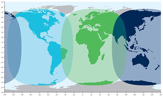 Карта общего покрытия системы ИНМАРСАТ